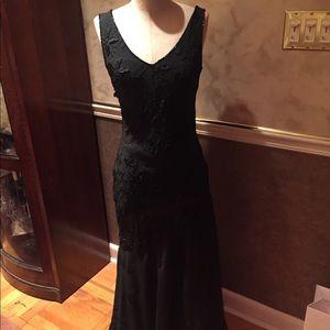 Black formal , hand beaded. Sz S 3D flowers 💄FAB